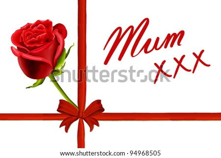 Birthday card to mum with a single red rose, red ribbon and bow isolated on a white background - stock photo