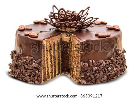 Birthday chocolate cake with strawberry close up - stock photo