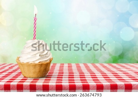 Birthday. Colorful birthday cake isolated over white - stock photo