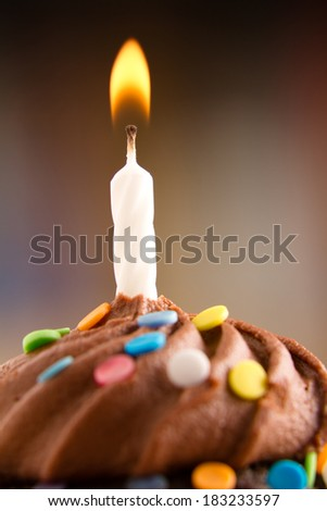 Birthday Cupcake - This is a shot of a delicious birthday cupcake with a candle sitting on a wooden table top. Shot with a shallow depth of field with the focus on the candle. - stock photo