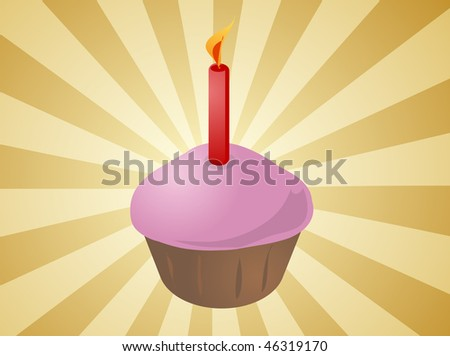 Birthday cupcake with lit candle festive illustration - stock photo