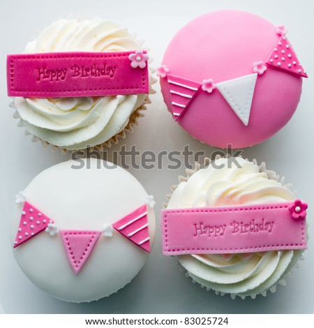 Birthday cupcakes - stock photo