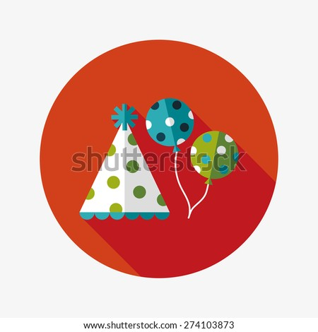 Birthday hat and balloons flat icon with long shadow - stock photo