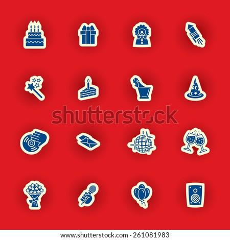 birthday icon set - stock photo