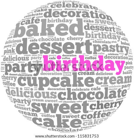 birthday info-text graphics and arrangement concept on white background (word cloud) - stock photo