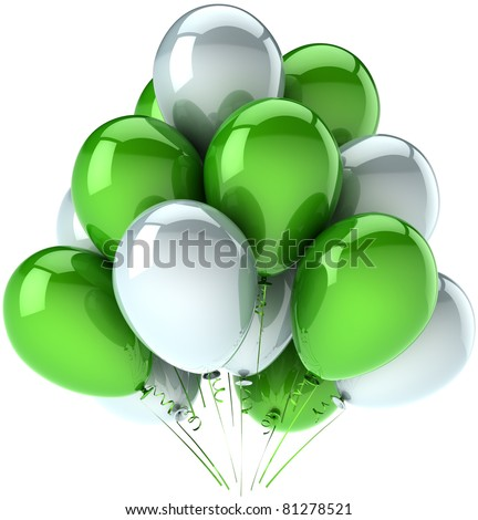 Birthday party balloons celebrate decoration green white balloon multicolor. Happy joy fun positive emotions abstract. Anniversary holiday greeting card concept. 3d render isolated on white background - stock photo