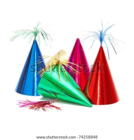 birthday party hats on white background - stock photo