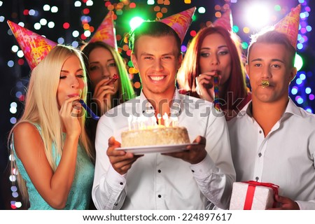 Birthday party in club - stock photo