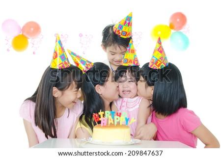 birthday party of asian kids - stock photo