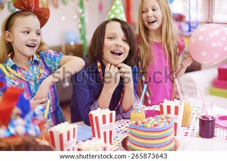 Birthday party only with the best friends - stock photo
