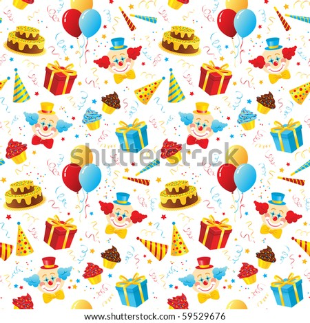 Birthday party seamless pattern - raster version - stock photo