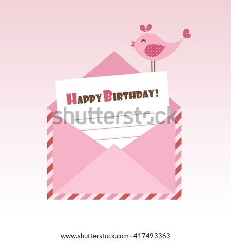 Birthday pink envelope with bird. Raster version - stock photo