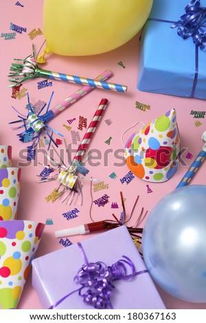 Birthday still life on pink  - stock photo