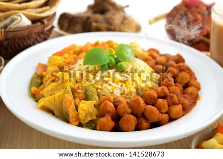 Biryani rice or briyani rice, fresh cooked with steam, delicious indian food. - stock photo