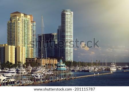 Biscayne Bay, Miami Beach, Florida, United States - stock photo
