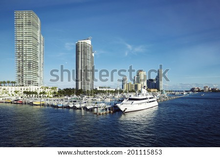 Biscayne Bay, Miami Beach, Florida, United States - stock photo