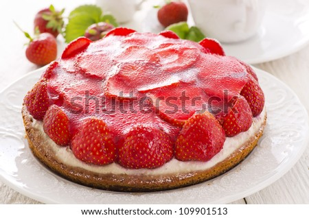 biscuit cake with strawberries - stock photo