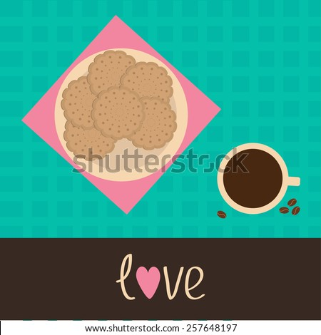 Biscuit cookie cracker on the plate and cup of coffee. Love card.  - stock photo
