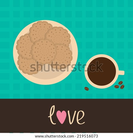 Biscuit cookie cracker on the plate and cup of coffee with coffee beans. Vector illustration. - stock photo