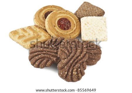 biscuit mix on white background - stock photo