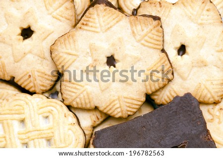 biscuit with chocolate - stock photo