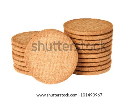 Biscuits against a white background - stock photo