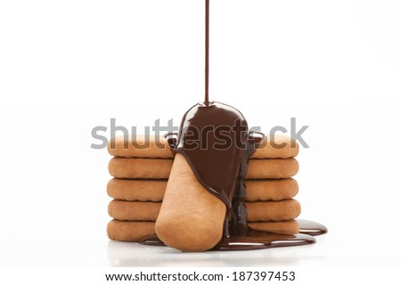 Biscuits coated with chocolate - stock photo