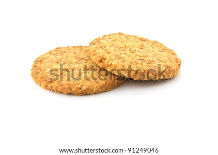biscuits isolated on white background - stock photo