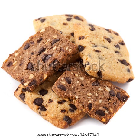 Biscuits with chocolate made of various cereal types - stock photo