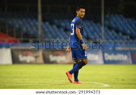 BISHAN,SINGAPORE-JUNE1: Chananan Pombubpha of Thailand in action during the 28th SEA Games Singapore 2015 match between Thailand and Timor Leste at Bishan Stadium on JUNE1 2015 in,SINGAPORE - stock photo