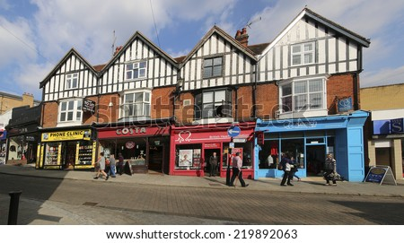 BISHOP'S STORTFORD, UK - SEPTEMBER 22, 2014: Shops. Bishop's Stortford is a historic market town in the county of Hertfordshire in England and just west of the M11 motorway   - stock photo