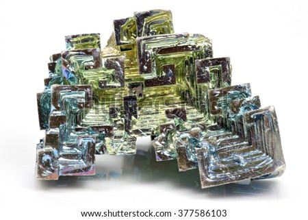 bismuth crystal isolated on white background - stock photo