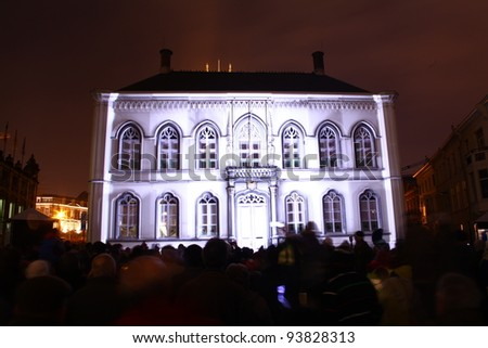 Bisschop house in Ghent, Belgium. During the Festival of Lights. - stock photo