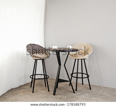 Bistro furniture as interior furniture black and white in color - stock photo