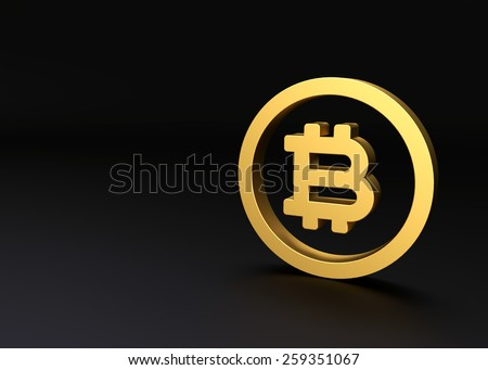 Bitcoin black dark grey background gold icon 3d render - stock photo