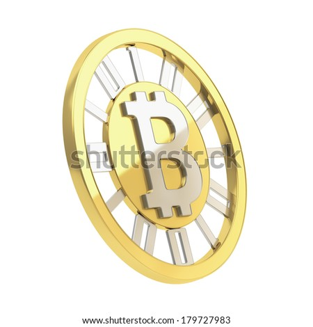 Bitcoin crypto peer-to-peer currency golden coin isolated over white background - stock photo
