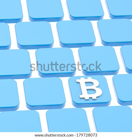 Bitcoin currency symbol over a blue keyboard button composition - stock photo