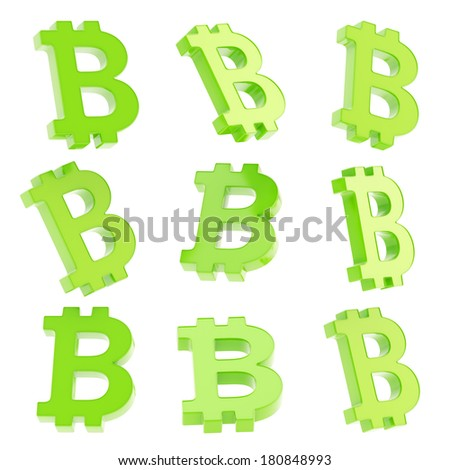 Bitcoin green peer-to-peer digital crypto currency sign render isolated over white background, set of nine foreshortenings - stock photo