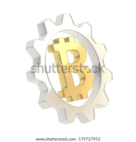 Bitcoin peer-to-peer crypto currency golden sign inside of a silver cogwheel gear isolated over white background - stock photo