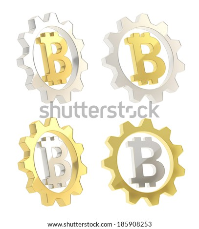 Bitcoin peer-to-peer crypto currency sign inside of a cogwheel isolated over white background, set of two foreshortenings of silver and golden gears - stock photo