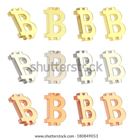 Bitcoin peer-to-peer digital crypto currency sign isolated over white background, set of four foreshortenings, golden, silver and bronze - stock photo
