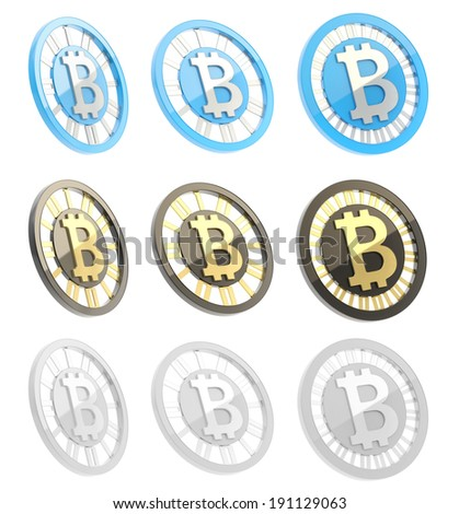 Bitcoin peer-to-peer digital currency symbol as a coin isolated over white background, three color options in three foreshortenings set - stock photo