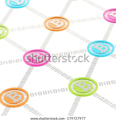 Bitcoin peer-to-peer network vizualized as a grid of connected one to each other colorful currency's coins, isolated over white background - stock photo