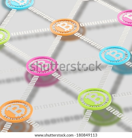 Bitcoin peer-to-peer network vizualized as a grid of connected one to each other colorful currency's coins, other the mat chrome surface - stock photo