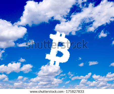 Bitcoin sign in clouds form with blue sky background - stock photo