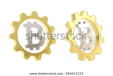 Bitcoin silver peer-to-peer crypto currency sign inside of a golden cogwheel gear isolated over white background, set of two foreshortenings - stock photo