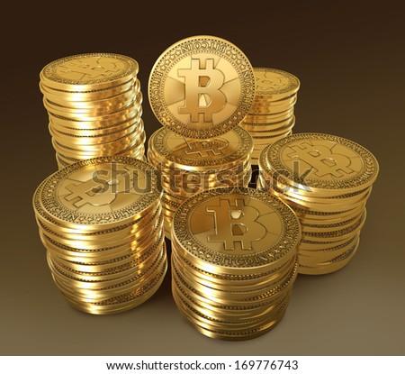 Bitcoin symbol for gold coin - stock photo