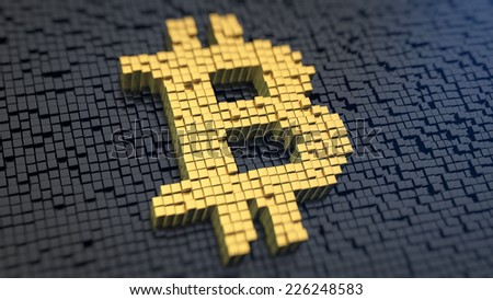 Bitcoin symbol of the yellow square pixels on a black matrix background. Cryptocurrency concept. - stock photo