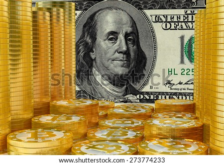 Bitcoins and Dollar - stock photo