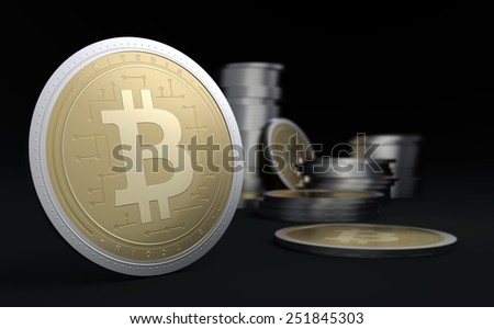 Bitcoins - illustration 3d render - stock photo